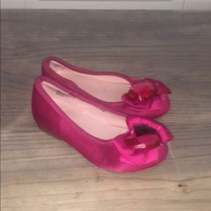 Bright Pink ballet slipper w bow & crystal heart